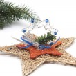 Silver and wooden star  — Stock Photo