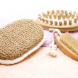 Massage brush and sponge — Stock Photo