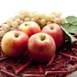 Red apples with wine grapes — Stock Photo