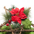 Stock Photo: Christmas flower with wooden star