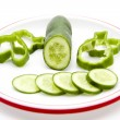 Cucumber with paprika — Stock Photo