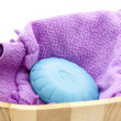 Blue soap with glove — Stock Photo
