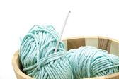 Crochet needle with wool — Stock Photo