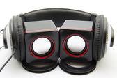 Head listener with loudspeaker — Stock Photo