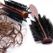 Hairbrush with hair   — Stock Photo