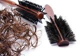 Hairbrush with hair — Stock Photo