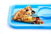 Fresh pizza with fork — Stockfoto
