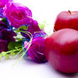 Apples and lilac bouquet — Stock Photo