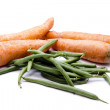 Carrots and stick beans — Stock Photo
