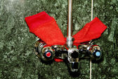 Faucet and red washcloth — Stock Photo