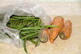 Carrots and stick beans — Stockfoto