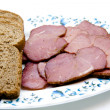 Cattle ham with toast bread on plate  — Stock Photo