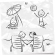Beach characters sketch — Stock Vector