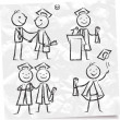 Stock Vector: Set of graduates
