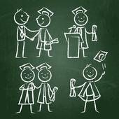 Set of graduates — Stock Vector