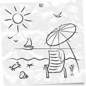 Beach sketch — Stock Vector