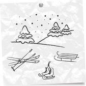 Winter activities set — Stock Vector