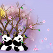 Lilac Greeting Card With Pandas — Stock Photo