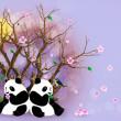 Lilac Greeting Card With Pandas — Stock Photo