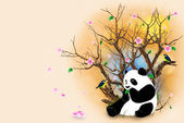 Beige Greeting Card With Panda — Stock Photo