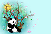 Turquoise Greeting Card With Panda — Stock Photo