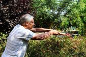 Old gardener works in the garden — Stock Photo