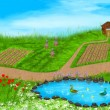 Stock Photo: Panoramillustration of summer landscape