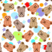 Seamless pattern with teddy bears and flowers — Stock Photo