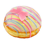 Donut with pink butterfly — Stock Photo