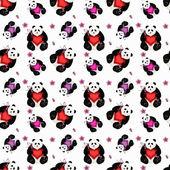 Seamless panda with heart — Zdjęcie stockowe
