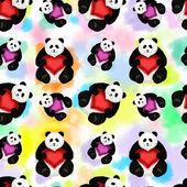Seamless pattern with panda — Stock Photo