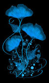 Three blue flowers — ストック写真