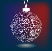 Bola de navidad de los copos de nieve hechos — Vector de stock
