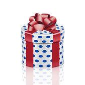 Caja de regalo con cinta roja redonda — Vector de stock