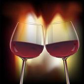 Romantic scene of two glasswine by fireplace — Stock Vector