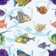 Stock Vector: Fish seamless pattern