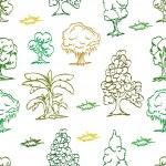 Tree hand draw seamless pattern — Stock Vector