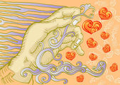 Hand holding love icon — Vector de stock