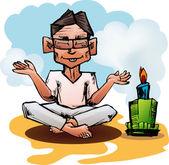 Homem posando de ioga — Vetor de Stock