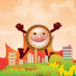 Cute monster on city background — Vector de stock