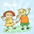 Couple children holding hand — Stock Vector