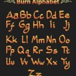 Burn alphabet on black — Stock Vector