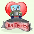Stock Vector: Just married couple driving open cup car