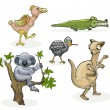 Set of australian animals — Stock Vector