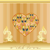 Golden greeting card with love icon — Stock Vector