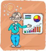 Young business man in presentation — Stockvector