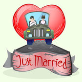 Just married couple driving open cup car — Stock Vector