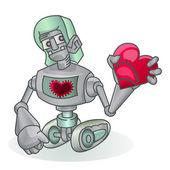 Roboter halten liebe symbol — Stockvektor