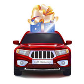 Gift on car — Stock Vector