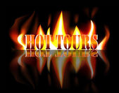 Hot Tours - Text in flames of fire — Stock Vector